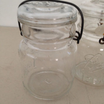 25% OFF SPRING SALE Ball Glass Mason Jar Ideal Pint Canning Jar with Wire Closure Wedding Decor