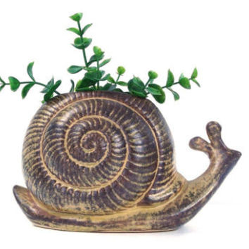 vintage 70's 80s large snail planter figurine ceramic collectible decorative home decor retro animal woodland creature flower pot container