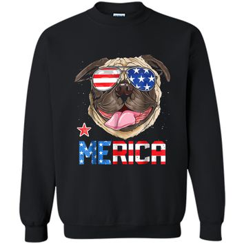 Pug Merica 4th of July T shirt Men Kids Boys Girls Dog Puppy Printed Crewneck Pullover Sweatshirt