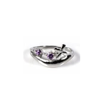 925 Sterling Silver CZ Cross Simulated Amethyst Ring 2MM
