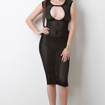 Semi-Sheer Mesh Cut Out Yoke Lace Up Midi Dress