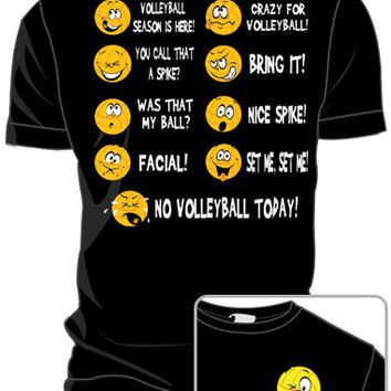 Midwest Volleyball Warehouse - VB Emoticons Black T-shirt