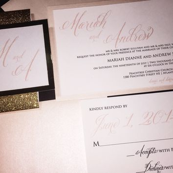 Blush and Gold Glitter Wedding Invitation Set - MARIAH VERSION