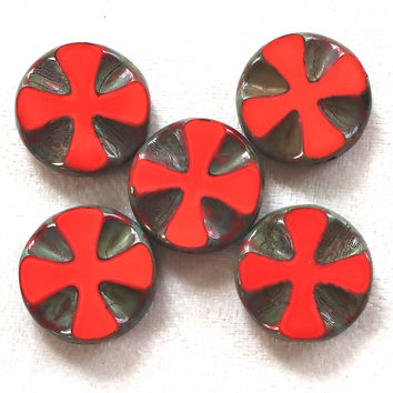 Five 14mm opaque bright red picasso, Czech glass, table-cut, carved, disc or coin beads, Celtic, Iron cross C0701
