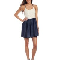 Jolt Juniors Chambray With Lace Bodice Dress