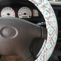 Gray and Mint Steering Wheel Cover, Vehical Accessory, Car Decor, Fabric Steering Cover, Car Accessory