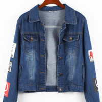 Dark Blue Long Sleeves Lapel Number Printed Single-breasted Denim Jacket