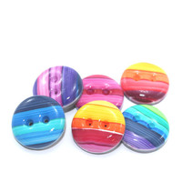 Small colorful swirl buttons, Polymer Clay buttons in rainbow colors, unique pattern,  set of 6 colorful buttons