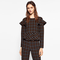 CHECKED FRILLED TOP DETAILS