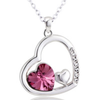 Swarovski Element Double Heart Crystal Necklace