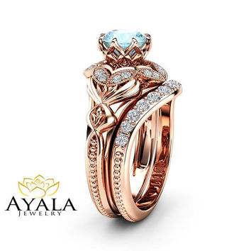 Aquamarine Engagement Matching Rings Art Deco Rose Gold Ring Set Aquamarine Diamonds Engagement Ring