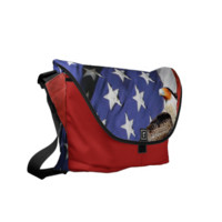Eagle on a cactus in front of the U.S.A. flag Messenger Bags