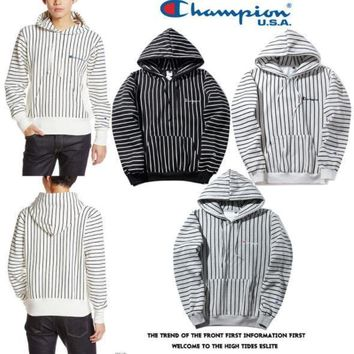 Small standard embroidery letter striped hoodie sweater men and women couple coat