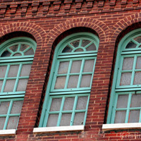 Architectural Photography, Window Photo, Building Detail, Fine Art Print Photograph, Pattern, Home Wall Art, Brown, Aqua, Turquoise