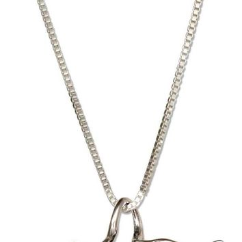 "Sterling Silver 18"" Dog Paw Print With Angel Wings Memorial Pendant Necklace"