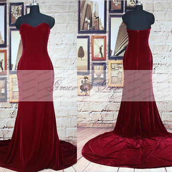 Velvet Prom Dress,Red Wine Evening Gown,Burgundy Mermaid Prom Dresses,Long Velvet Bridesmaid Dress,Elegant Long Formal Evening Dresses 2016