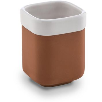 CP Brick Round Toothbrush Toothpaste Holder Tumbler, Ceramic