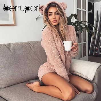 BerryPark 2019 Autumn Winter Women Warm Coral Fleece Velvet Playsuit Kawaii Cute Bear Hooded Jumpsuit Home Clothes