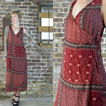 Vintage Indian Tribal Batik Print Bohemian Wrap Dress