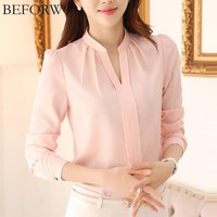 BEFORW Women Chiffon Blouses Summer Fashion White Pink Womens Clothing Tops Shirt Sexy V Neck Business Office Women Blouses