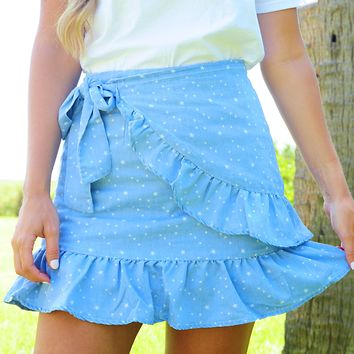 Kiss The Stars Skirt: Chambray/White