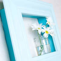 Framed Shadowbox Shelf - Aqua and Ocean Blue - Distressed, Modern Cottage