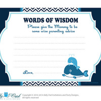 Navy  Boy Whale Words of Wisdom, Advice Card for Baby Shower Printable DIY for Boy, Chevron - oz8bs2