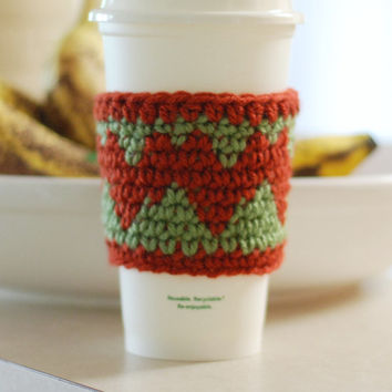 Crochet Coffee Cup Cozy Sage Green with Rustic Red Heart Travel Cup Cozy Cup Sleeve Gift Idea