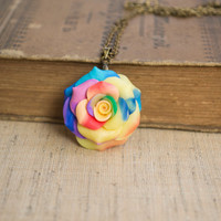 Polymer Clay Rose Necklace. Colorful Rose Pendant. Rainbow Necklace. Antique Brass Chain. Flower Jewelry. Handmade Jewelry