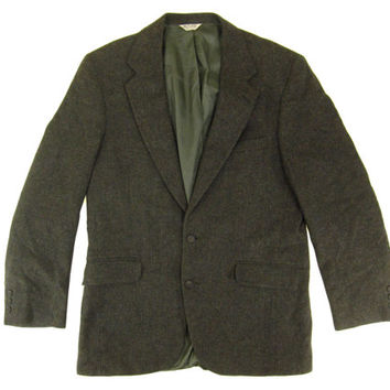 Vintage Tweed Blazer in Green-Brown - Jacket, Sport Coat, Wool, Ivy League Menswear - Men's Size 42 L Long Large Lrg L