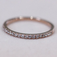 VS Natural Diamond Ring 1.2mm Wedding Band 14K Rose Gold Ring Half Eternity Diamond Band Engagement Ring Wedding Ring