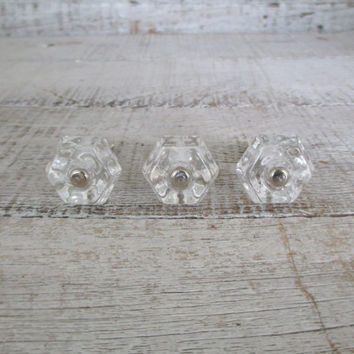 Drawer Pulls 3 Drawer Knobs Glass Knobs Mid Century Hardware Clear Glass Drawer Pulls Cabinet Knobs Decorative Knobs Unique Knobs