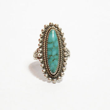 Vintage Native American Blue Turquoise Ring Signed JP Sterling // Vintage Navajo Sterling Silver Turquoise Jewelry, Navajo Jewelry