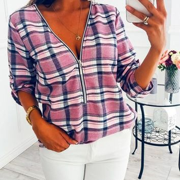 New Pink Plaid Deep V-neck Zipper Casual Fashion Blouse
