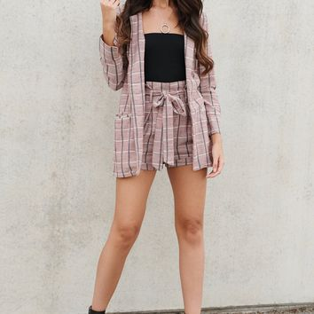 Mad For Plaid Two Piece Set (Mauve)