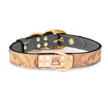 Gray Dog Collar with Tan Leather + Silver and Tan Stitching