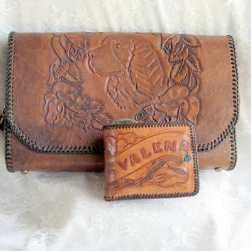 Hand Tooled Leather Purse Dog Theme Matching Wallet Vintage