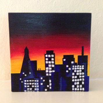 Wood wall art cityscape painting mini painting wood art original art