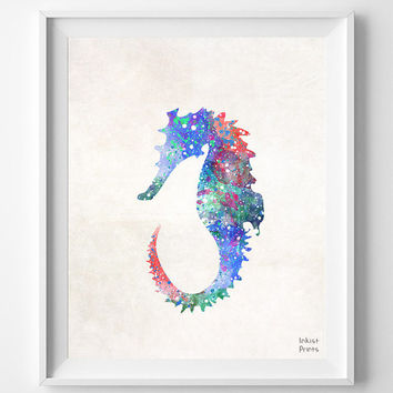Seahorse Watercolor, Sea Print, Painting, Marine Fish Poster, Nursery, Baby Room ,Illustration Art, Watercolour, Wall, Home Decor [NO 392]
