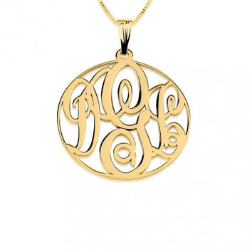 14K Gold Intertwine Medium Monogram with Circle Necklace