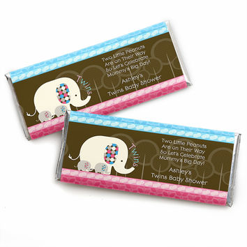 Twin Baby Elephants 1 Blue & 1 Pink - Personalized Baby Shower Candy Bar Wrapper Favors
