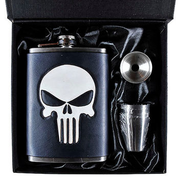 Punisher Inspired Skull Flask Set