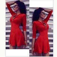 Fashion Women's Tunic Dress Casual V-neck 3/4 Sleeve Solid Pleated Dresses Party Bodycon Mini vestidos Plus size
