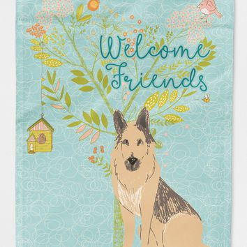 Welcome Friends German Shepherd Flag Canvas House Size BB7578CHF