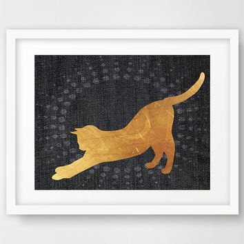 Housewarming gifts for cat lovers, blue and gold, cat silhouette, print poster, sunburst, cat art, wall hanging, cat lady, home decor