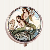 Mermaids with Seahorse Pill Organizer Box