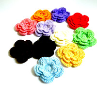 Crochet Flower embellishment, 3.5inch large 3d flower accessory or applique for DIY projects Simply Soft Acrylic Yarn over 40 color options