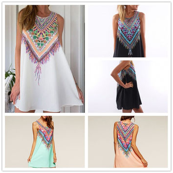 Feelingirl Printed Chiffon Dress Summer Women Casual Sleeveless A-Line Short Dress = 1696862788
