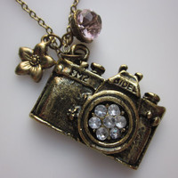 Camera Necklace with Flower and Crystal.