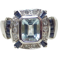 Aquamarine Sapphire & Diamond Ring 14k White Gold